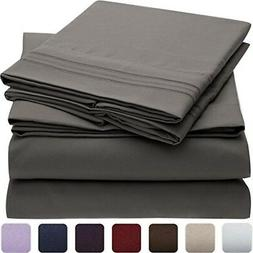 Queen, Silvery Grey Panku Bed Sheet Set-Brushed Microfiber 1800 Sheets-Deep Pocket-4 Piece