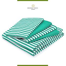Queen Size Bed Sheets - Green Striped Luxury Sheet Set - Sta