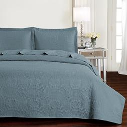Mellanni Bedspread Coverlet Set Spa-Blue Comforter Oversized
