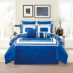 KingLinen 12 Piece Bernard Navy Comforter Set with Sheets Qu