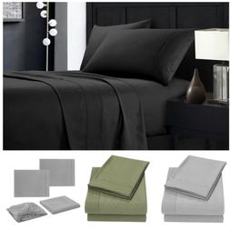 Black Queen Bed Sheets Set Deep Pocket Bedding Fitted & Flat