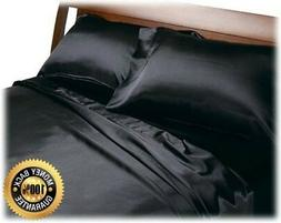 black satin sheets queen size soft silk