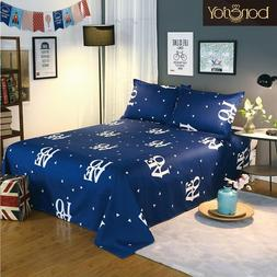 Blue Color Bedding <font><b>Sheet</b></font> 3 pcs King Size