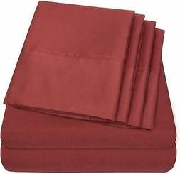 SWEET HOME COLLECTION~Burgundy 6 Pc 1500 Thread Count RV Sho