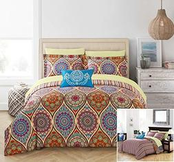 Chic Home 8 Piece Chennai Reversible Boho-inspired print and