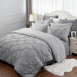 8 Piece Comforter Set Full Queen Size  Solid Grey Pinch Plea