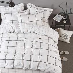 karever Boys Black and White Big Grid Plaid Bedding Sets Won