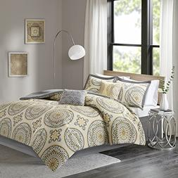 Cotton Full / Queen Comforter Set - Venice 6 Piece White Yel