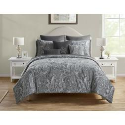 Deluxe Grey White Paisley Floral Reversible 12 pcs Comforter