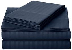 AmazonBasics Deluxe Microfiber Striped Sheet Set, Navy Blue,