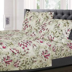 Dolce Sage/Purple Floral Printed 4-Piece 1800 Thread Count S