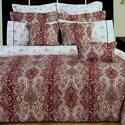 Duvet Comforter Cover 11pc Queen Set Moroccan Paisley Burgun