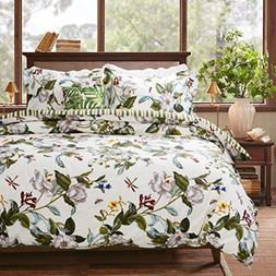 FADFAY Beautiful Duvet Cover Set 100% Cotton Green and Yello