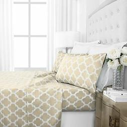 Italian Luxury 1800 Hotel Collection Quatrefoil Pattern Bed