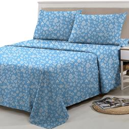 Floral Bed Sheets 4 Piece Egyptian Comfort 1800 Series Deep
