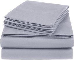 AmazonBasics Essential Cotton Blend Sheet Set -King, Dark Gr