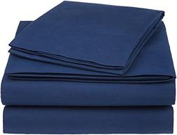 AmazonBasics Essential Cotton Blend Sheet Set -Twin XL, Navy