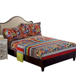 FADFAY Exotic Boho Style Bed Sheet Set Colorful Bohemian Bed