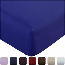 Mellanni Fitted Sheet Queen Imperial-Blue Brushed Microfiber