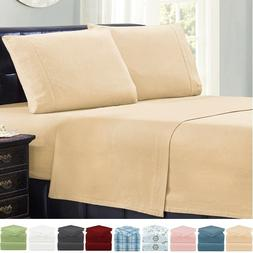 Mellanni 4-Piece Bed Sheet Set Cotton Flannel, Deep Pocket B
