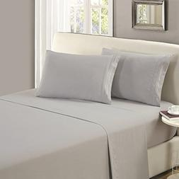 Mellanni Flat Sheet Queen Light-Gray Brushed Microfiber 1800