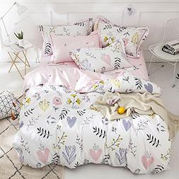 BuLuTu Floral Love Print Girls Duvet Cover Full White/Pink C