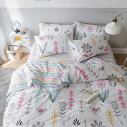 HIGHBUY Floral Printed Pattern Queen Duvet Cover Sets Cotton