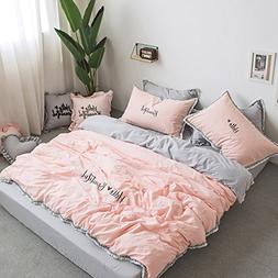 Fringe Bedding Sets Pink&Grey - MeMoreCool 100% Cotton Embro