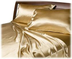 Golden Gold Satin Sheet Set Sheets Queen King Smooth Silky B