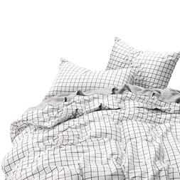 Wake In Cloud - Grid Duvet Cover Set, 100% Cotton Bedding, B