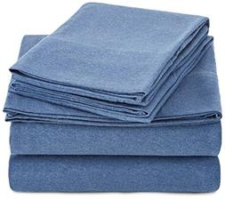AmazonBasics Heather Jersey Sheet Set - Queen, Chambray