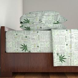 Roostery Hemp 4pc Sheet Set Hemp Cloth by Whimzwhirled Queen