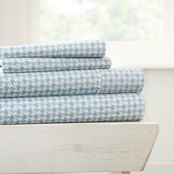 Home Collection Ultra Soft Hounds Tooth Pattern 4 Piece Bed