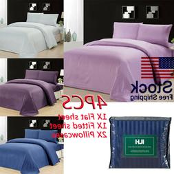 Home Stripe Bed Sheet Set Luxurious Wrinkle Fade Stain Resis
