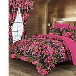 HOT PINK CAMO SHEET QUEEN SIZE WOODS CAMO BEDDING 6 SET CAMO