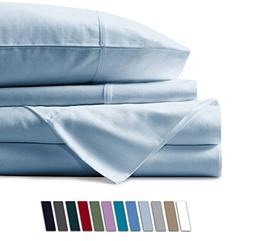 Mayfair Linen 100% Egyptian Cotton Sheets, Sky Blue Queen Sh