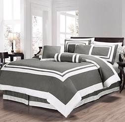 7 Piece Hotel style Comforter color Gray size Queen