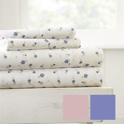 Hotel Luxury Soft Floral Pattern 4 Piece Bed Sheet Set by Ho