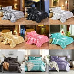 Ice Silk Satin King Queen Twin 1800 Count Quilt Cover Set Fi