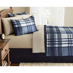 8 Piece Indigo Blue Plaid Checked comforters Queen Set With