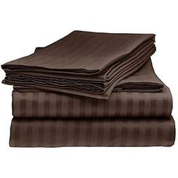 ITALIAN Sheets & Pillowcases STRIPED 4PC QUEEN Set, CHOCOLAT