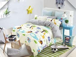 Cliab Kids Forest Animal Print Bedding Queen Size Lion Eleph