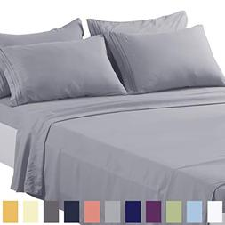 TEKAMON King Bed 6 Piece Sheet Set Cooling 100% Microfiber P