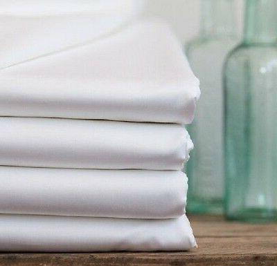 new white queen size flat bed sheet 90x115 percale 200 threa