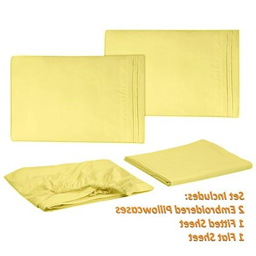 1500 Collection Sheets - PEACH 4 SET, 2012 Deep Hypoallergenic Over 40+ Queen Size, Yellow
