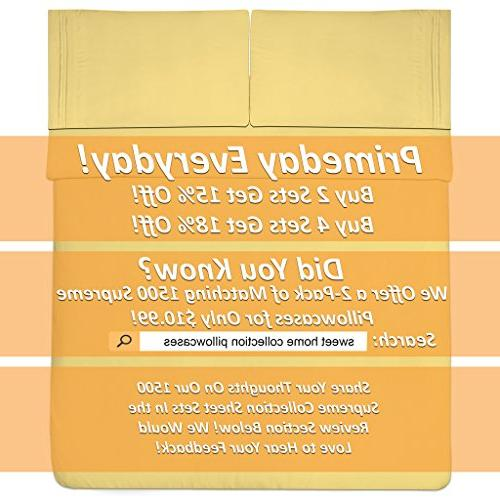 1500 Sheets Set PEACH LUXURY 4 SET, SINCE Deep Pocket Hypoallergenic Bedding 40+ Colors Size, Yellow