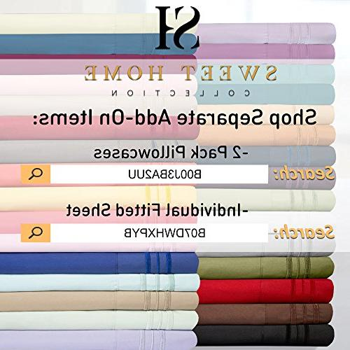 1500 Bed Sheets Set PEACH SKIN 4 PIECE SET, SINCE - Deep Pocket Wrinkle Hypoallergenic - 40+ Colors Queen Size,
