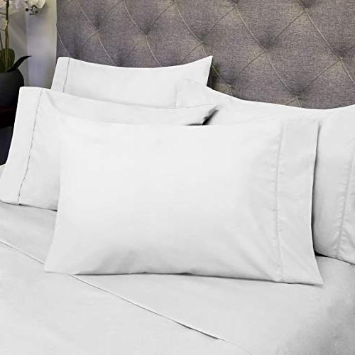 Queen Sheets White - 6 Piece Count Fine Brushed Microfiber Deep Set - 2 Extra Pillow Cases,