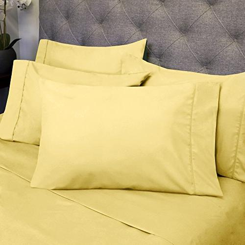 Sweet 6 Piece Count Egyptian Pocket Extra Pillow Yellow