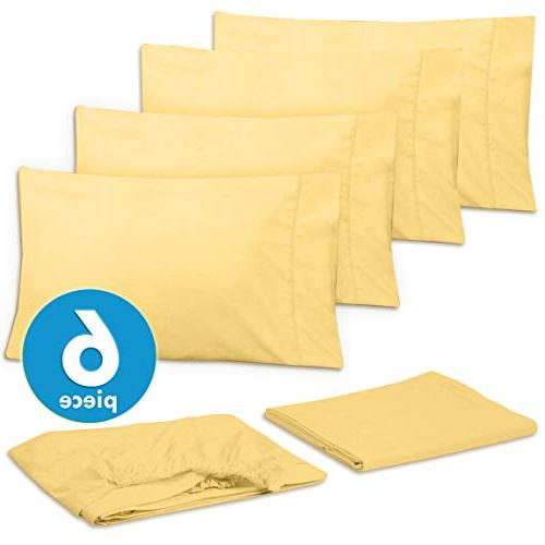 Sweet 6 Piece 1500 Count Deep Pocket Bed Sheet Extra Cases, Value-Queen, Yellow